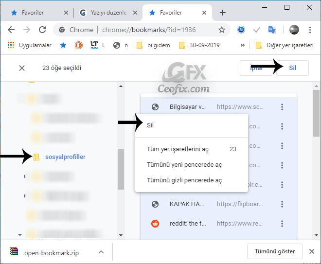 Chrome'daki Tüm Yer İşaretleri Nasıl Silinir