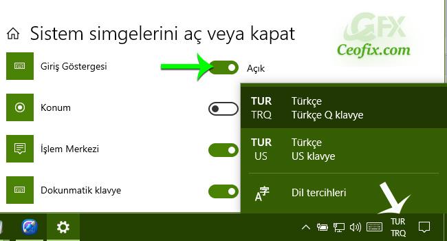 Windows 10'da Görev Çubuğuna Dil Simgesini Ekle Yada Kaldır