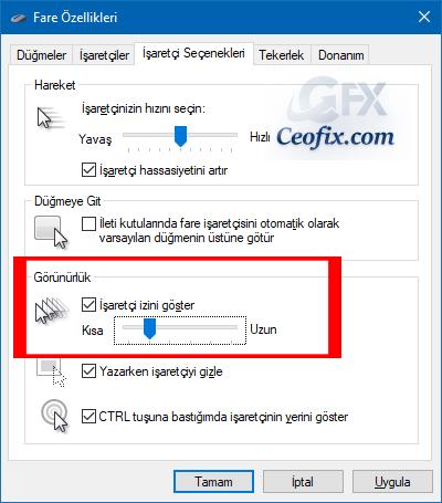 Windows'da Fare işaretçisi İzi Nedir Nasıl Açılır?
