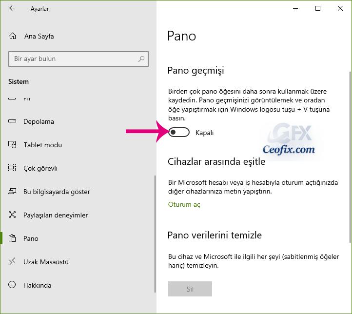 Windows 10'da Pano Geçmişini Temizleme