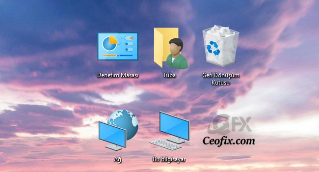 Masa Üstünde Bilgisayar -Ağ -Çöp Kutusu- Belgeler Görünmüyor
