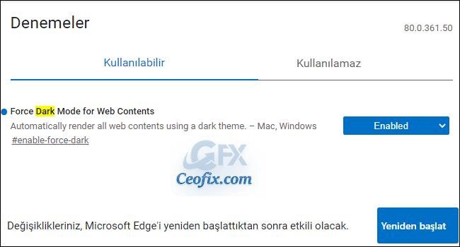Edge'de Tüm İnternet Sayfaları Siyah Arka Plan İle Açılsın