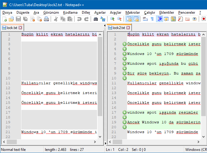 Notepad Plus İle İki Metin Dosyası Nasıl Karşılaştırılır