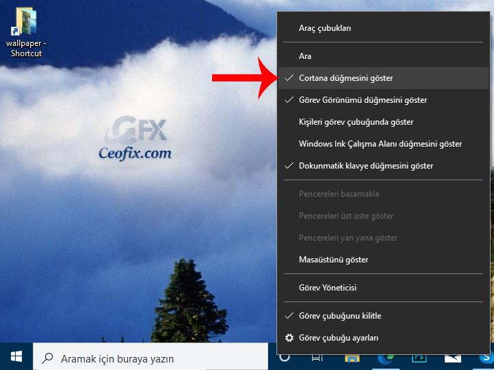 Windows 10 Görev Çubuğundan Cortana Butonu Nasıl Gizlenir