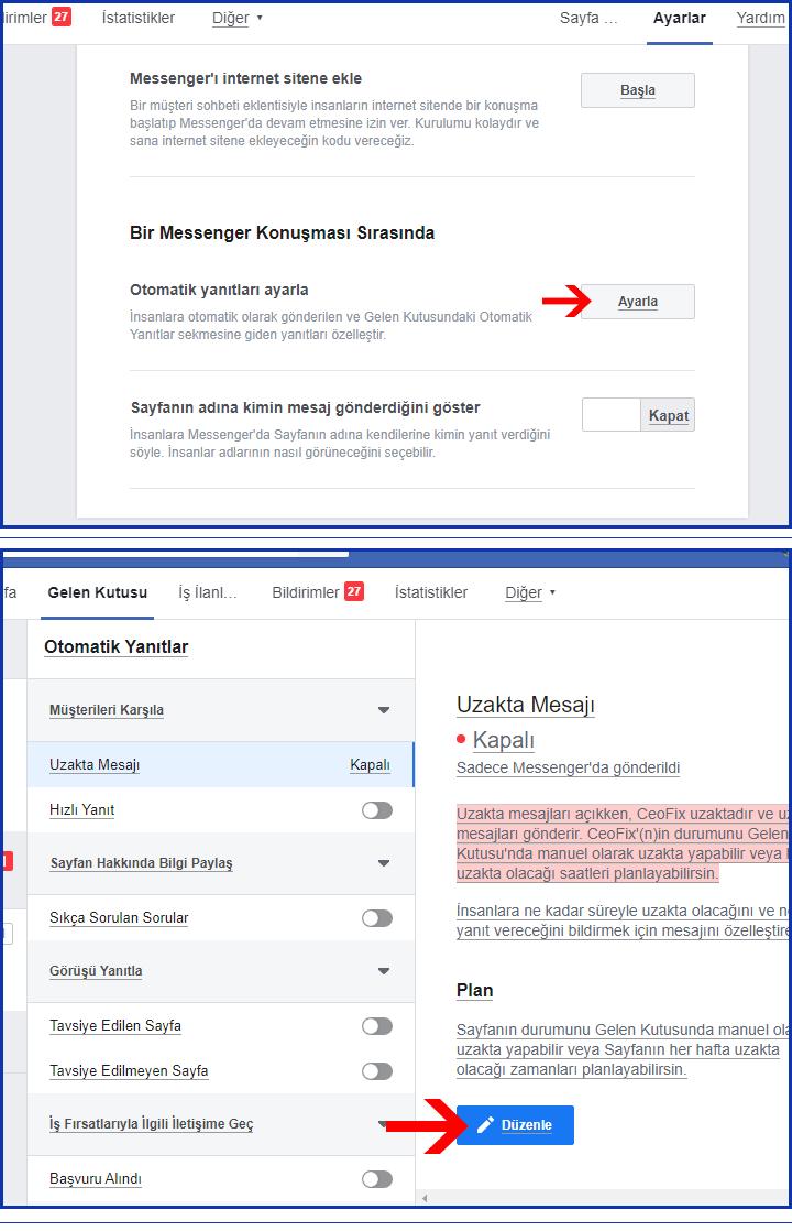 Facebook Sayfa Mesajlarını Otomatik Mesaj İle Cevaplayın