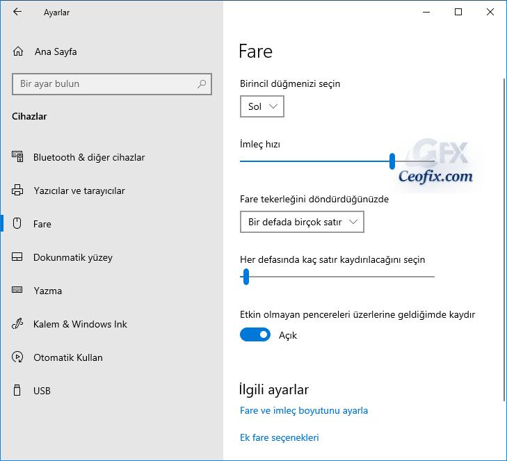 Windows Ayarlardan Fare İmleci (işaretçisi) Hızını Değiştir