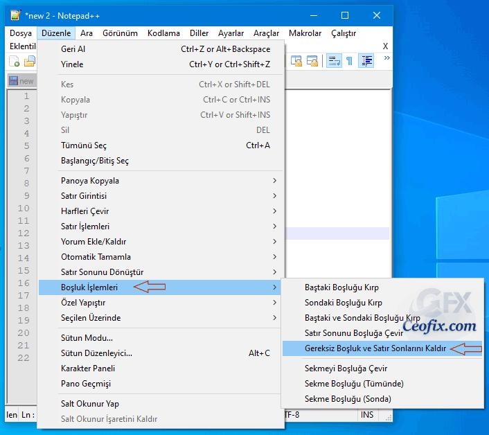 Metin belgesindeki her satırı Notepad Plus ile birleştirip yan yana sırala