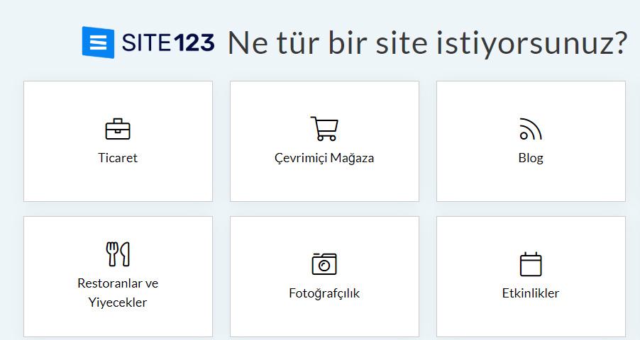 site 123 Web sitesi türünü seçin: Ne tür bir web sitesi istiyorsunuz?
