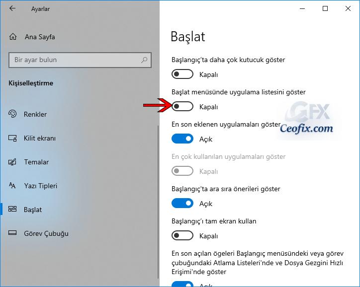 Windows Başlat Menüsündeki Uygulama listesi Nasıl Gizlenir