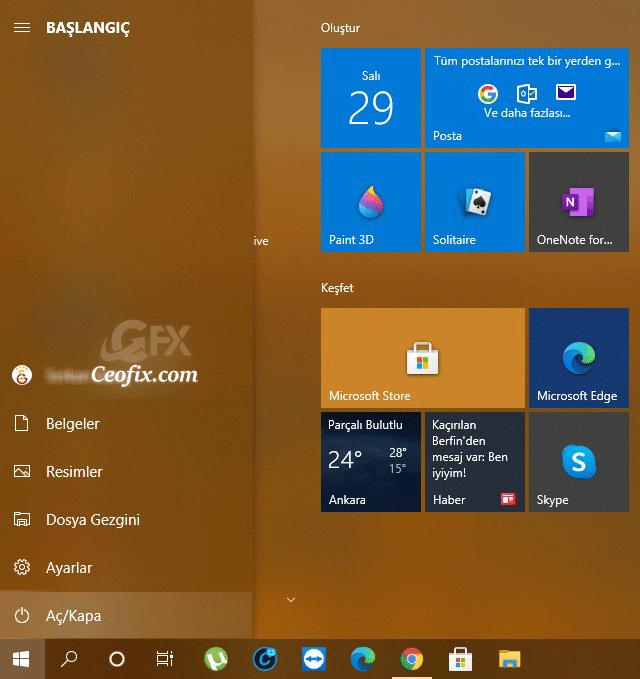 Windows 10 başlat menüsü bozuldu