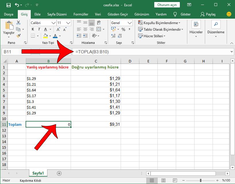 Excel toplama yapmıyor