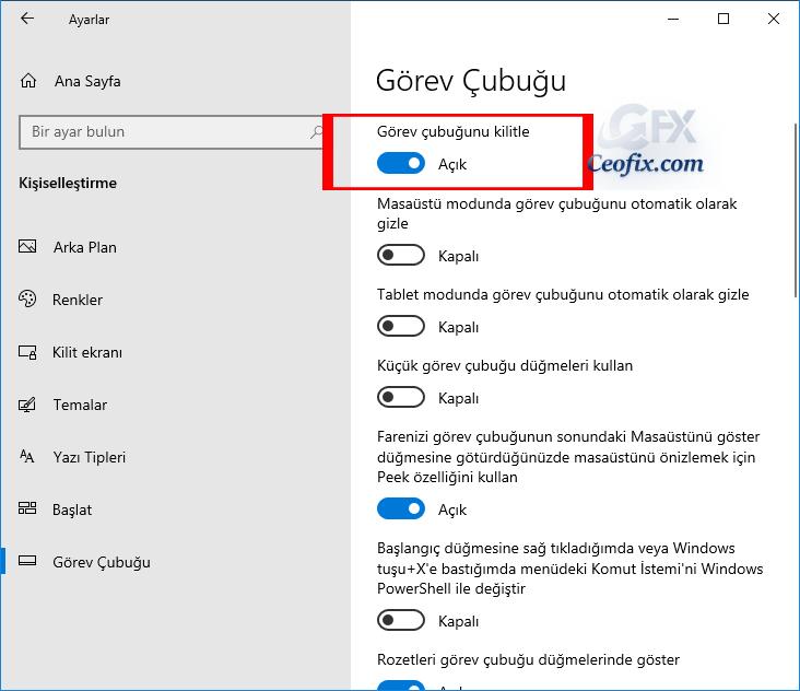 Windows 10 ayarlardan Görev Çubuğu Nasıl Kilitlenir