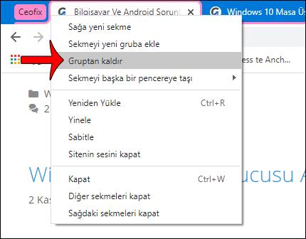 Chrome'da Sekme Grupları Nasıl Kullanılır
