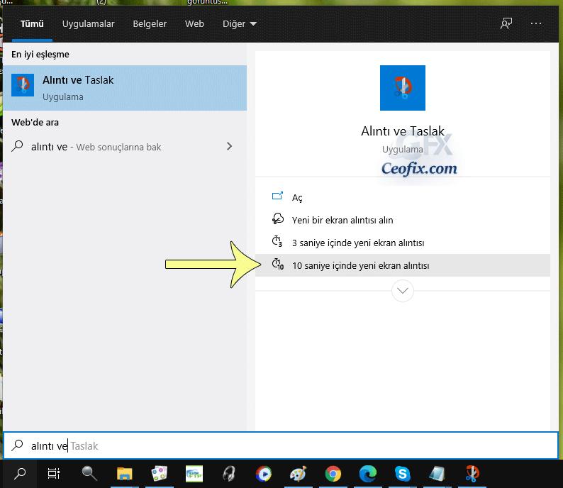 Windows 10 alıntı ve taslak aracı