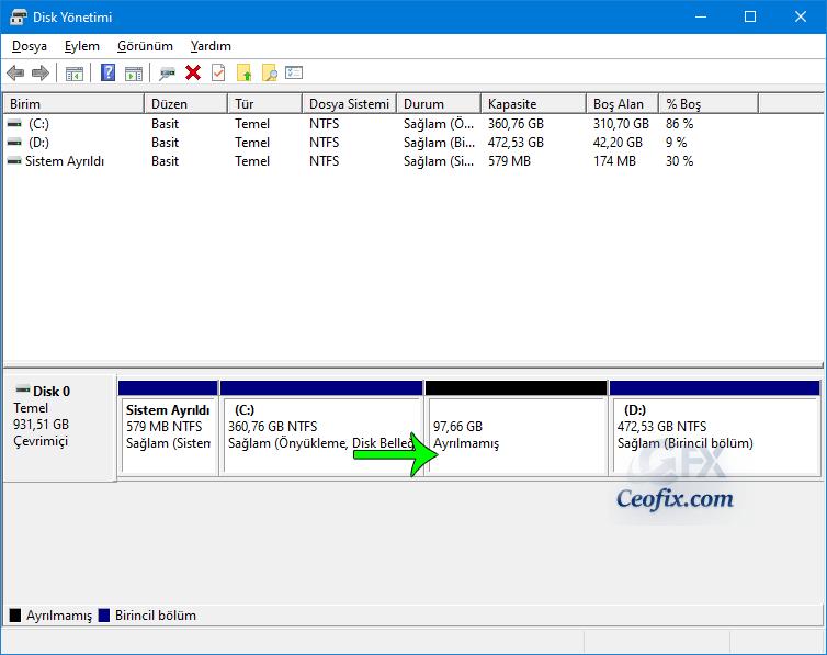 Windows ayrılmamış alan