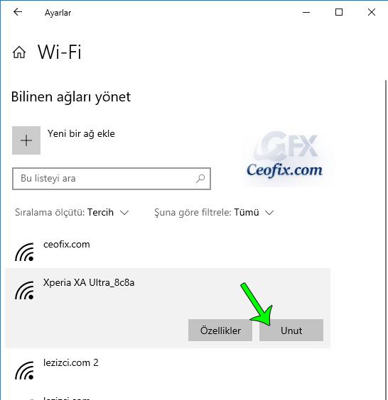 Windows 10'da kayıtlı Wi-Fi ağını unut