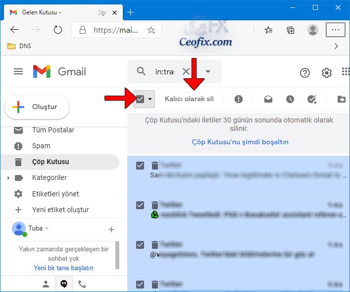 """E-postaları kalıcı olarak silmek için sol taraftaki bölmedeki"""" Çöp Kutusu """"klasörüne gidin."""