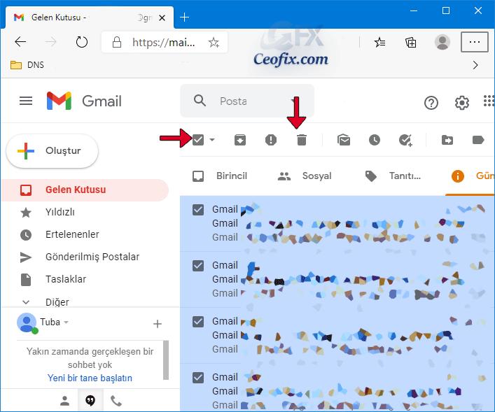 Bir Web Tarayıcısında Gmail'de 50'den fazla e-postayı silin