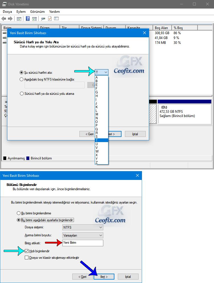 Windows'da Ayrılmamış Alandan D yada E Birimi Oluştur