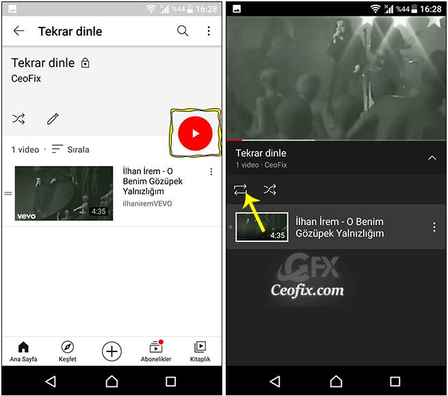 YouTube Videoları Mobil Uygulamada Sürekli Tekrar Etsin