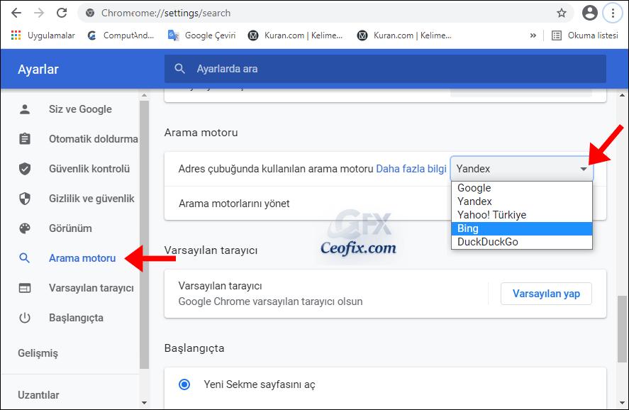 Varsayılan Arama Motorunu Chrome'da Nasıl Değiştirilir?