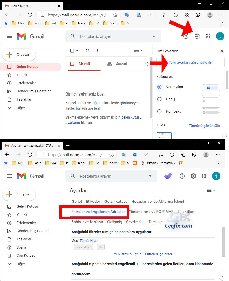 Gmailde engellenen mailleri nasıl bulurum?