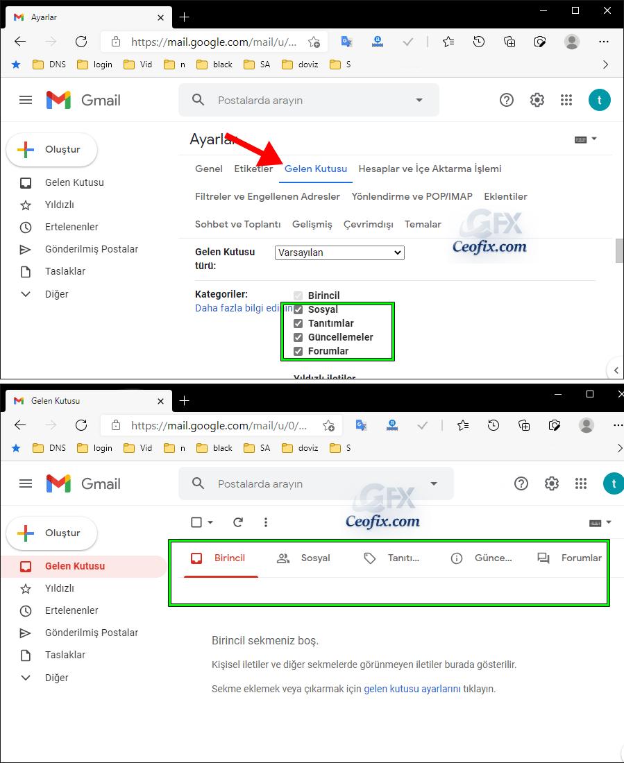 Gmailde sekmeler nasıl ayarlanır?