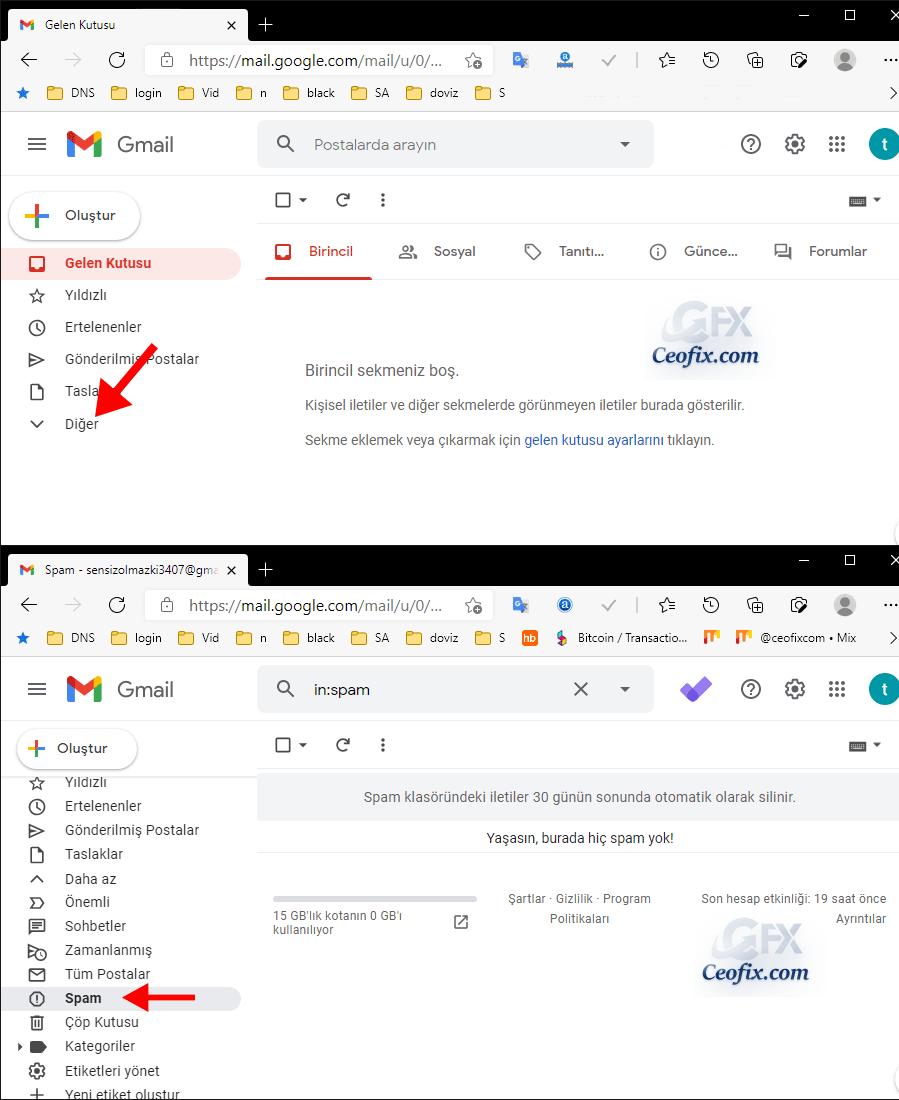Gmailde spam mailler nerede?