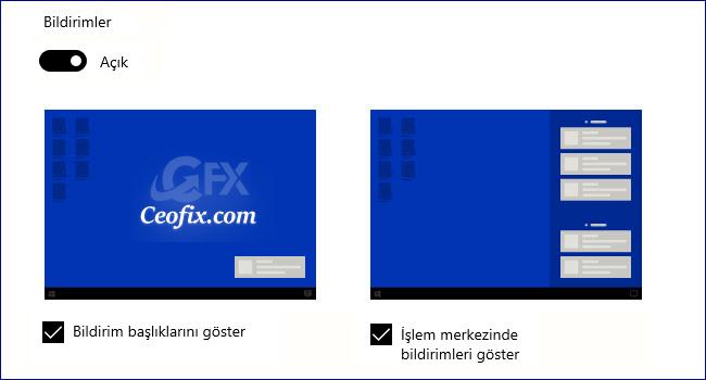 Windows Belirli Uygulamalardan Gelen Bildirimleri Göstersin