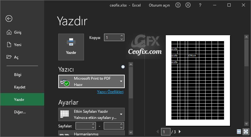 Excel siyah tema ile yazdırma