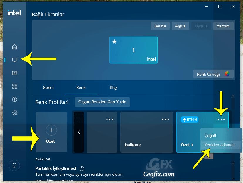 Intel Grafikleri kontrol merkezi