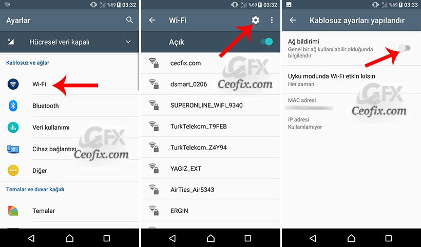 Android'de Kullanılabilir WiFi Ağ Bildirimini Kapat