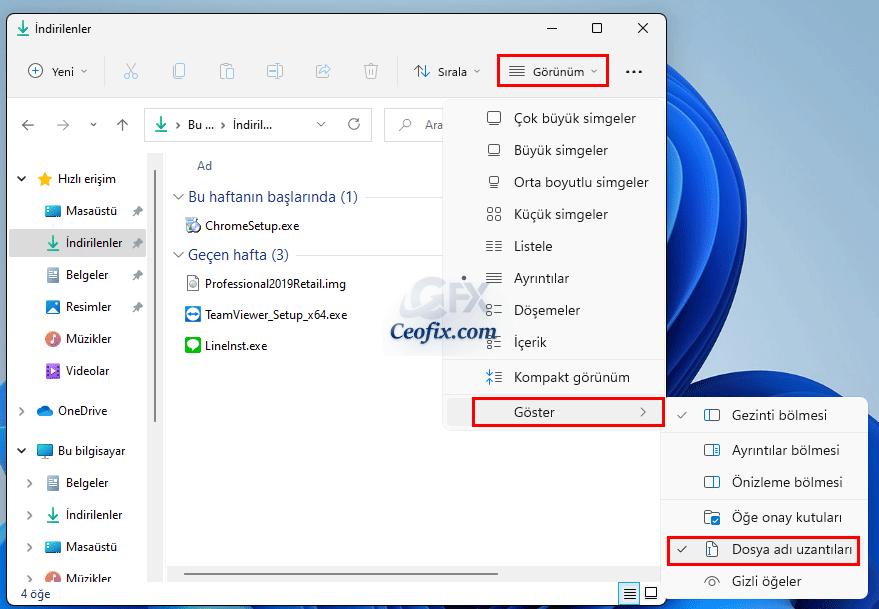 Windows 11'de Dosya Uzantılarını Göster Veya Gizle