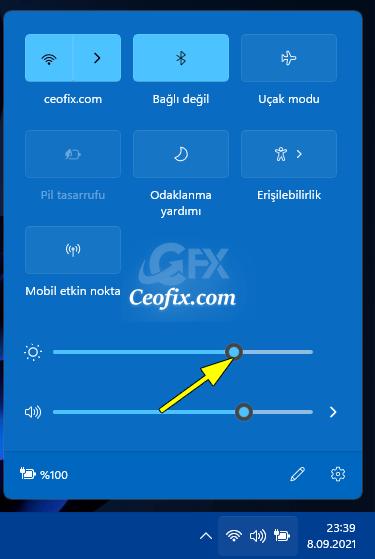 Windows 11'de Hızlı Ayarlarla Ekran Parlaklığını Değiştirin