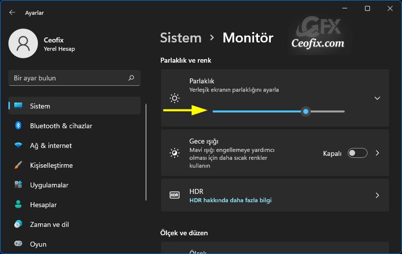 Windows 11'de Windows Ayarlarında Ekran Parlaklığını Değiştirin