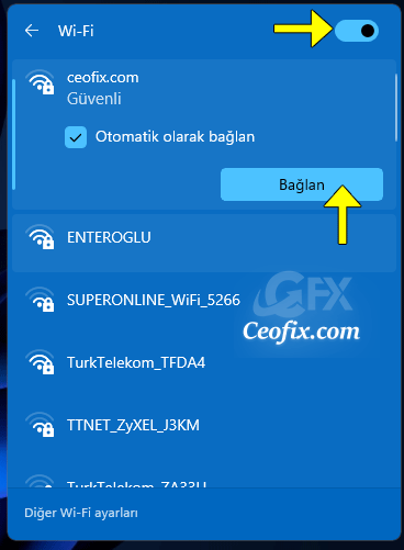 Windows 11 bilgisayarımı Wi-Fi'ye nasıl bağlarım?